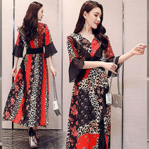 Dress Summer 2021 gules M,L,XL,2XL longuette singleton  elbow sleeve commute V-neck High waist Leopard Print Irregular skirt Flying sleeve Others 25-29 years old Other / other literature QSLG919-ZF6B56 81% (inclusive) - 90% (inclusive) Chiffon