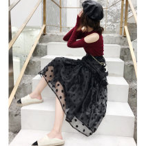 skirt Autumn of 2019 XS,S,M,L Black, white Mid length dress commute High waist A-line skirt Dot Type A LD09121007 Other / other Korean version