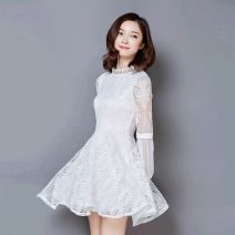 Dress Autumn of 2018 White, red, gray, black S,M,L,XL,2XL,3XL Mid length dress singleton  Long sleeves commute stand collar Elastic waist Solid color Socket A-line skirt bishop sleeve 25-29 years old Type A Korean version Cut out, lace 81% (inclusive) - 90% (inclusive) Lace