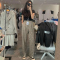 Women's large Autumn 2020, spring 2021 Grayish yellow Big L, big XL, big XXL, big XXXL, big XXXXL, big s, M trousers singleton  commute Straight cylinder moderate lattice Korean version Cotton, hemp Three dimensional cutting 25-29 years old pocket trousers