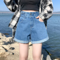 Jeans Summer 2021 Blue, black, off white S,M,L,XL,2XL shorts High waist Wide legged trousers routine 18-24 years old Make old, wash, grind white, zipper, button, tape, metal decoration Cotton denim Dark color 51% (inclusive) - 70% (inclusive)