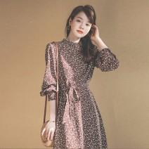 Sports dress njQDU female Auden Brown S [suitable for 85-100kg] m [suitable for 100-110kg] l [suitable for 110-120kg] XL [suitable for 120-130kg] Autumn 2020 Long sleeves Socket Crew neck