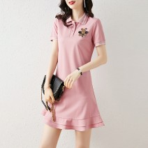 Sports dress female Auden Pink Navy S M L XL Summer 2020 Short sleeve Lapel cotton