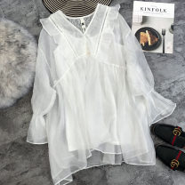 Lace / Chiffon Summer 2021 White, Navy Average size Long sleeves commute Socket easy Medium length Solid color pagoda sleeve Korean version 51% (inclusive) - 70% (inclusive)