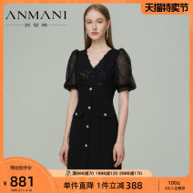 Dress Spring 2021 Black and white S M L XL Short skirt Short sleeve commute V-neck High waist zipper A-line skirt puff sleeve 25-29 years old Type X Emmanuel Retro More than 95% other Other 100% Same model in shopping mall (sold online and offline)