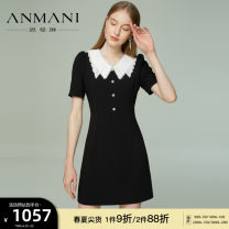 Dress Summer 2021 black and white S M L XL Short skirt Short sleeve commute V-neck High waist zipper A-line skirt other 25-29 years old Type X Emmanuel lady Lace EANBBG48 More than 95% other other Other 100% Same model in shopping mall (sold online and offline)