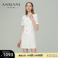 Dress Spring 2021 white S M L XL Short skirt Short sleeve commute square neck High waist zipper A-line skirt puff sleeve 25-29 years old Type X Emmanuel lady Hollow button EANBAS01 81% (inclusive) - 90% (inclusive) polyester fiber Polyester 88.1% pan 11.9%