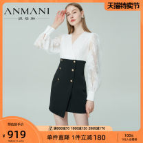 Dress Spring 2021 black and white S M L XL Short skirt singleton  Long sleeves commute V-neck High waist zipper routine 25-29 years old Type X Emmanuel lady Asymmetrical lace EANBAS24 More than 95% other Other 100% Same model in shopping mall (sold online and offline)
