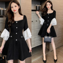 Dress Spring 2021 black S,M,L,XL Middle-skirt singleton  Long sleeves commute square neck High waist Solid color zipper A-line skirt pagoda sleeve Type A Korean version Button