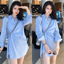 Dress Spring 2021 blue S,M,L,XL Mid length dress singleton  Long sleeves commute Polo collar Loose waist Solid color Three buttons other routine Others Type X Korean version Button polyester fiber