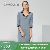 Dress Spring of 2018 dark grey 160/80A/S 165/84A/M 170/88A/L 170/92A/XL Mid length dress singleton  three quarter sleeve V-neck Loose waist Solid color Socket Pencil skirt routine 25-29 years old Type H Caroline / Caroline Splicing ECR8AA13 31% (inclusive) - 50% (inclusive) knitting nylon