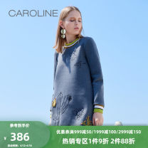 Dress Winter of 2018 Grey Navy 160/64A/S 165/68A/M 170/72A/L 170/76A/XL Short skirt singleton  Long sleeves Sweet Crew neck middle-waisted other Socket other routine Others 25-29 years old Type H Caroline / Caroline printing ECR7CA07 81% (inclusive) - 90% (inclusive) cotton Ruili