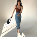 skirt Spring 2021 S,M,L,XL Blue, gray, blue (reserved) Mid length dress street Natural waist A-line skirt Solid color Type A 25-29 years old 91% (inclusive) - 95% (inclusive) TKSTYLE cotton Tassels, pockets, buttons, zippers Europe and America