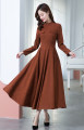 Dress Spring 2021 Caramel S,M,L,XL,2XL longuette singleton  Long sleeves commute stand collar High waist Solid color Big swing routine Others 25-29 years old Type A Retro pocket Q7106 corduroy dress More than 95% corduroy polyester fiber