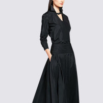 Dress Spring 2021 black S,M,L,XL,2XL,3XL longuette singleton  Long sleeves commute Polo collar middle-waisted Solid color Socket A-line skirt shirt sleeve Type A Retro Pleating CX578