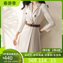 Dress Spring 2021 Apricot S M L XL Middle-skirt singleton  Long sleeves commute tailored collar High waist Solid color Pleated skirt routine Others 30-34 years old Hong beiti Ol style L1N1250 More than 95% polyester fiber Polyester 97% other 3% Pure e-commerce (online only)