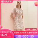 Dress Summer 2021 Gouache S M L XL Mid length dress singleton  Short sleeve commute Crew neck High waist Decor routine 30-34 years old Hong beiti Ol style Embroidery gauze L1R2011 More than 95% polyester fiber Polyester 100% Same model in shopping mall (sold online and offline)