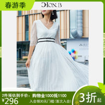 Dress Summer of 2018 Beige S L M Mid length dress singleton  elbow sleeve commute V-neck High waist Solid color Socket A-line skirt Others 30-34 years old Type A Hong beiti lady Lace DL8M2048 More than 95% Lace nylon Polyamide fiber (nylon) 100%