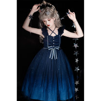 Dress Summer 2021 Blue pre-sale price (5.19 delivery), blue spot price (5.19 delivery) S,M,L Middle-skirt Sleeveless Sweet High waist other camisole 18-24 years old Type A Bear sauce 71% (inclusive) - 80% (inclusive) other polyester fiber