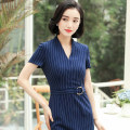 Professional dress suit S M L XL XXL 4XL XXXL Short sleeve Blue Stripe Dress Short Sleeve Black Stripe Dress Summer of 2018 Short sleeve QC-KY8806 Other styles other 25-35 years old See sunny / Qin Chen Polyester 95% polyurethane elastic fiber (spandex) 5% Pure e-commerce (online only)