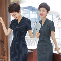 Professional dress suit S M L XL XXL XXXL 4XL Short sleeve blue stripe dress short sleeve Grey Stripe Dress Summer of 2018 Short sleeve QC-YR5013 Other styles other 25-35 years old See sunny / Qin Chen Polyester 95% polyurethane elastic fiber (spandex) 5% Pure e-commerce (online only)