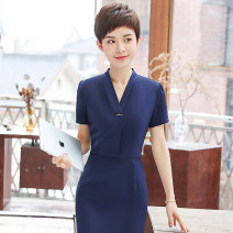 Dress Summer of 2018 Short sleeve blue dress short sleeve black dress S M L XL XXL XXXL 4XL Middle-skirt singleton  Short sleeve commute V-neck middle-waisted Solid color Socket A-line skirt routine Others 25-29 years old See sunny / Qin Chen Korean version QC-YR5009 More than 95% other