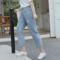 Women's large Summer 2021 Blue blue- XL 2XL 3XL 4XL 5XL 6XL Jeans singleton  commute Self cultivation moderate Korean version Cotton others Three dimensional cutting QXLQF1119QDE Delicate and beautiful 25-29 years old pocket Cotton 89.3% polyester 5.6% regenerated cellulose 5.1% Ninth pants