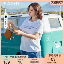 Women's large Summer 2021 Off white black off white black XL 2XL 3XL 4XL 5XL 6XL T-shirt singleton  commute Self cultivation moderate Socket Short sleeve letter Korean version Crew neck routine cotton Three dimensional cutting Delicate and beautiful 25-29 years old 96% and above Cotton 100%