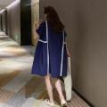 Dress Other / other dark blue Average size Korean version Short sleeve Medium length summer Crew neck other