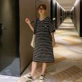 Dress Other / other Black and white stripes Average size Korean version Short sleeve Medium length summer Crew neck stripe