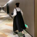 Dress Other / other Black strap skirt, black strap skirt + white shirt Average size Korean version Sleeveless Medium length spring square neck Solid color