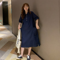 Dress Other / other Navy Blue Average size Korean version Short sleeve Medium length summer Lapel Solid color