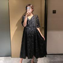 Dress Other / other Black suit, white suit Average size Korean version Short sleeve Medium length summer V-neck Solid color