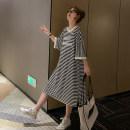 Dress Other / other Black and white stripes Average size Korean version elbow sleeve Medium length summer Crew neck stripe
