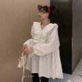 Dress Other / other white Average size Korean version Long sleeves Medium length spring V-neck Solid color