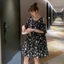 Dress Other / other Black flowers Average size Korean version elbow sleeve Medium length summer Crew neck Decor Chiffon