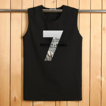 Vest / vest Youth fashion Others motion easy Sweat vest routine summer Crew neck Large size 2018 Youthful vigor Solid color Socket other cotton No iron treatment printing Brocade cotton