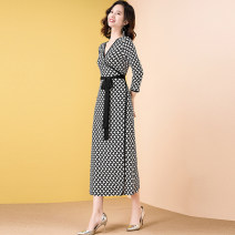 Dress Summer 2020 2635 black and white check, 2636 black and white printing, 2649 light green printing, 2650 purple printing M,L,XL,2XL,3XL longuette singleton  three quarter sleeve commute V-neck middle-waisted lattice other A-line skirt routine Type A lady Lace up, printed