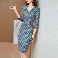 Dress Spring 2021 291 blue clavicle , 292 blue geometry M,L,XL,2XL,3XL Mid length dress singleton  three quarter sleeve commute V-neck middle-waisted Decor Socket One pace skirt routine Type H lady Fold, tie, print knitting