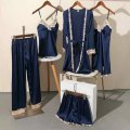 Pajamas / housewear set female Other / other M [recommended weight 80 ~ 100 kg], l [recommended weight 100 ~ 120 kg], XL [recommended weight 120 ~ 135 kg], XXL [recommended weight 135 ~ 160 kg] Iced silk camisole sexy pajamas summer Thin money V-neck Solid color shorts Tether youth rubber string silk