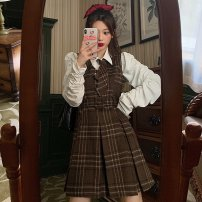 Women's large Spring 2021 Plaid vest skirt, white top + tie M [100 Jin recommended], l [100-115 Jin recommended], XL [115-135 Jin recommended], 2XL [135-150 Jin recommended], 3XL [150-170 Jin recommended], 4XL [170-190 Jin recommended] Two piece set Sweet easy moderate Long sleeves lattice routine
