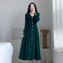 Dress Autumn 2020 green S,M,L,XL,2XL Miniskirt singleton  Long sleeves commute Admiral High waist Solid color Single breasted Big swing routine Others 18-24 years old Type A Retro Button 31% (inclusive) - 50% (inclusive) polyester fiber