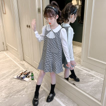 Dress Spring 2021 Thousand bird grid [C007], thousand bird grid [txa43] 110 same, 120 quality, 130 price, 140 lower, 150 return, 160 worry free Mid length dress singleton  Long sleeves commute Doll Collar Loose waist lattice A button Ruffle Skirt routine Others Under 17 Type A Other / other brocade