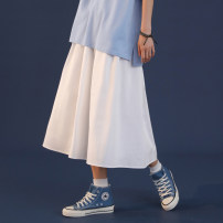 skirt Spring 2021 S,M,L,XL Mid length dress Versatile High waist A-line skirt Solid color Type A 18-24 years old 51% (inclusive) - 70% (inclusive) cotton