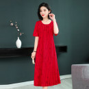 Dress Summer of 2019 Black, red, L21 red, L21 black, L20 red, L20 black, color 1, color 2, color 3, color 5, color 6, color 7, color 8, color 9, color 10, color 11, color 12, color 13, color 15, color 16 XL,2XL,3XL,4XL,5XL Mid length dress singleton  Short sleeve Sweet Crew neck High waist Cake skirt