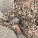 Dress Spring 2020 Decor Average size longuette singleton  Long sleeves commute V-neck middle-waisted Broken flowers Socket other routine Others 25-29 years old Type X Retro Ruffle, print More than 95% Chiffon polyester fiber