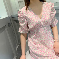 Dress Summer 2020 gules Average size Mid length dress singleton  Short sleeve Sweet V-neck middle-waisted Broken flowers Socket Big swing puff sleeve Others 25-29 years old Type X printing More than 95% Chiffon polyester fiber college