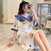 Nightdress Huizi family TFN - five thousand eight hundred and seven #  skirt - Blue collar pineapple one hundred and sixty ( M ), one hundred and sixty-five ( L ), one hundred and seventy ( XL ), one hundred and seventy-five ( XXL ), A gift for the exclusive collection Sweet Short sleeve pajamas