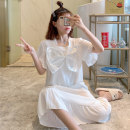 Nightdress Huizi family Simplicity Short sleeve longuette Living clothes Solid color summer youth square neck cotton printing 6008# one hundred and sixty ( M ), one hundred and sixty-five ( L ), one hundred and seventy ( XL ), one hundred and seventy-five ( XXL ), A gift for the exclusive collection