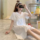 Nightdress Huizi family Simplicity Short sleeve longuette Living clothes Solid color summer youth V-neck cotton bow V2003# one hundred and sixty ( M ), one hundred and sixty-five ( L ), one hundred and seventy ( XL ), one hundred and seventy-five ( XXL ), A gift for the exclusive collection